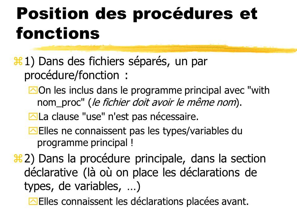 Position des procédures et fonctions
