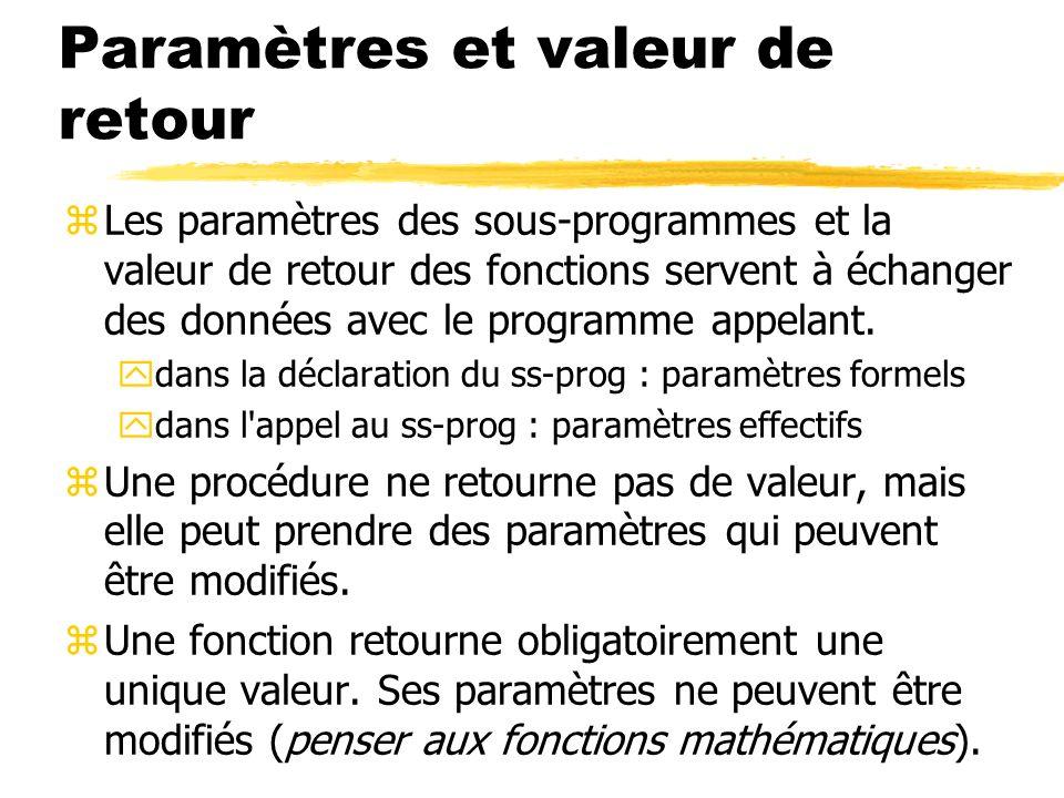 Paramètres et valeur de retour
