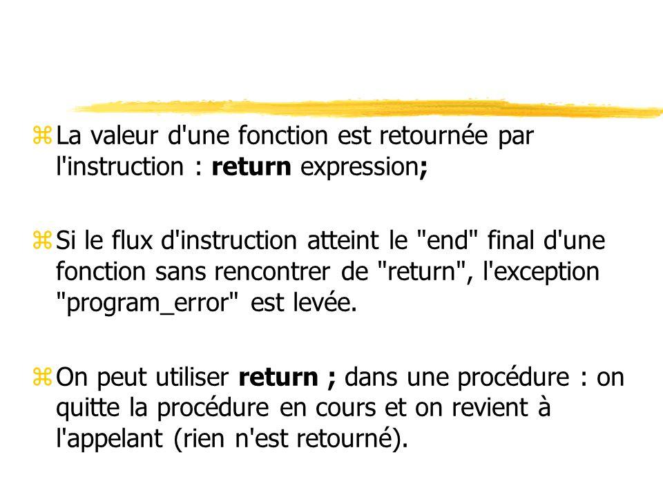 La valeur d une fonction est retournée par l instruction : return expression;
