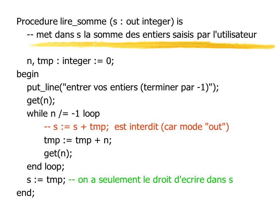 Procedure lire_somme (s : out integer) is
