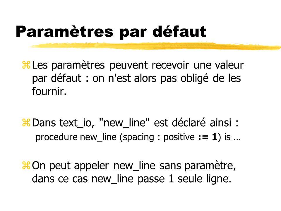Paramètres par défaut Les paramètres peuvent recevoir une valeur par défaut : on n est alors pas obligé de les fournir.