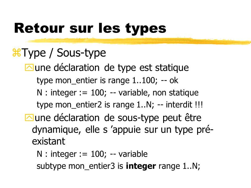 Retour sur les types Type / Sous-type