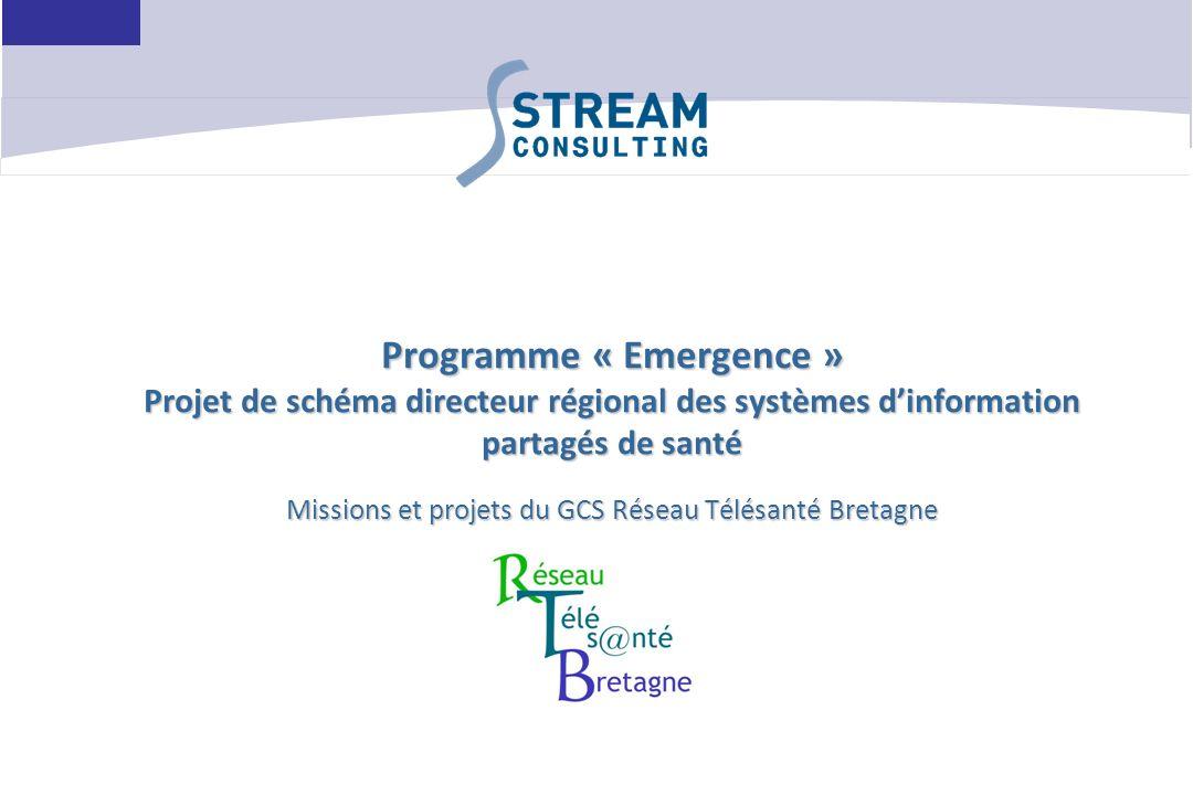 Programme « Emergence » Projet de schéma directeur régional des systèmes d'information partagés de santé Missions et projets du GCS Réseau Télésanté Bretagne
