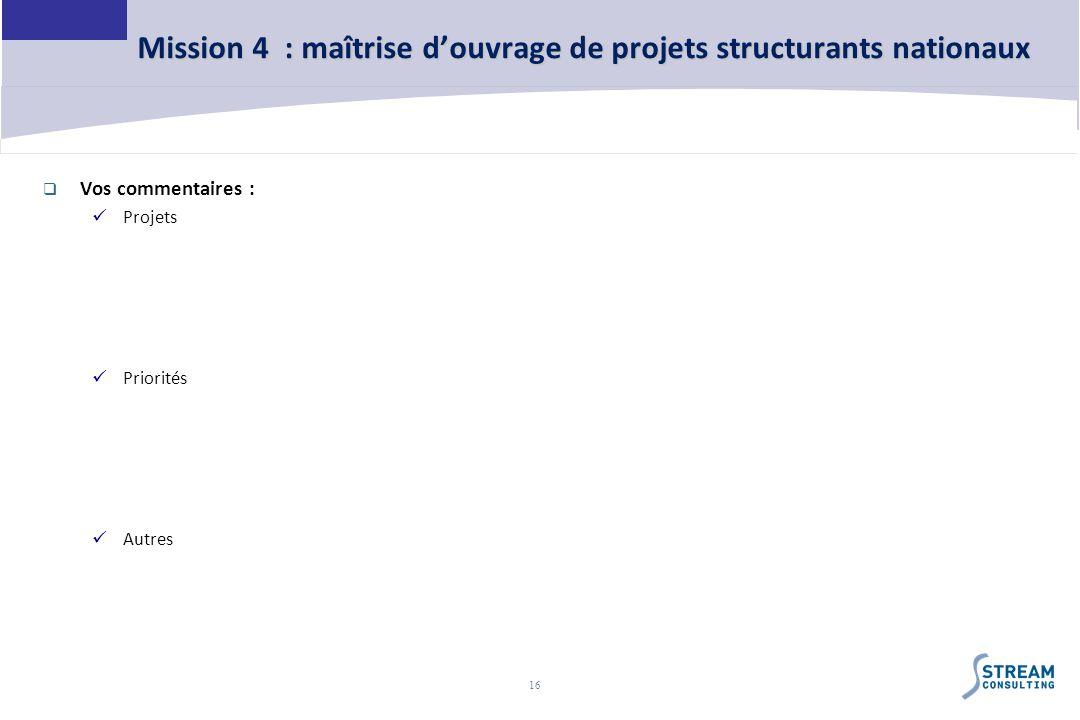 Mission 4 : maîtrise d'ouvrage de projets structurants nationaux