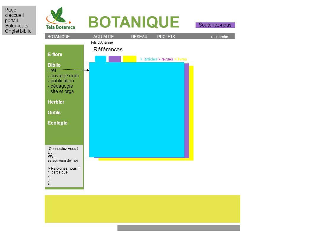 BOTANIQUE Références Page d accueil portail Botanique/ Onglet biblio