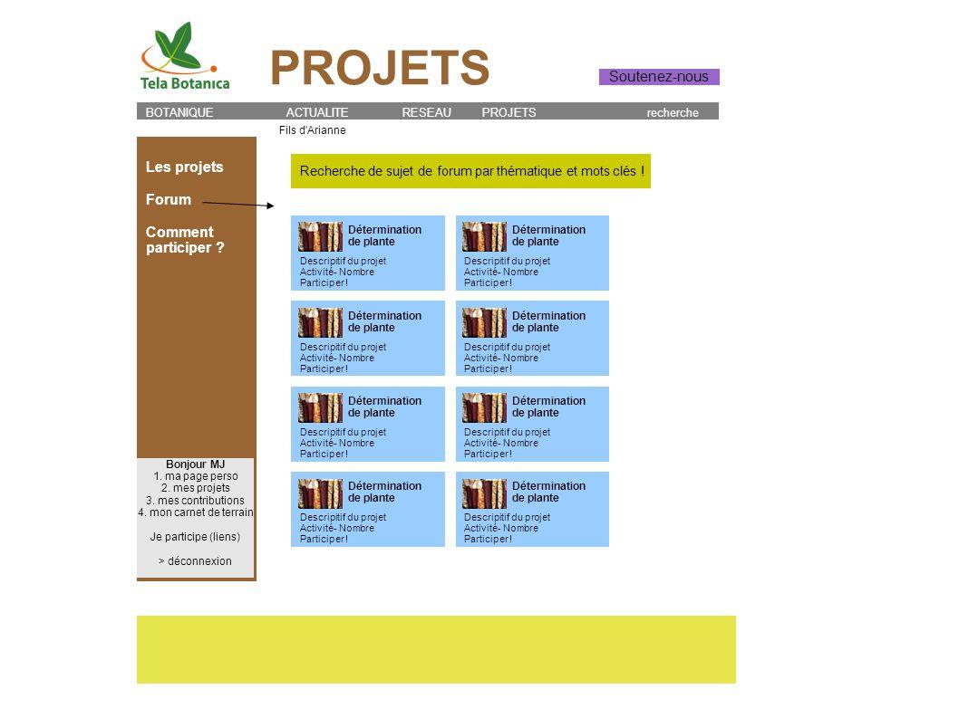 PROJETS Soutenez-nous Les projets Forum Comment participer