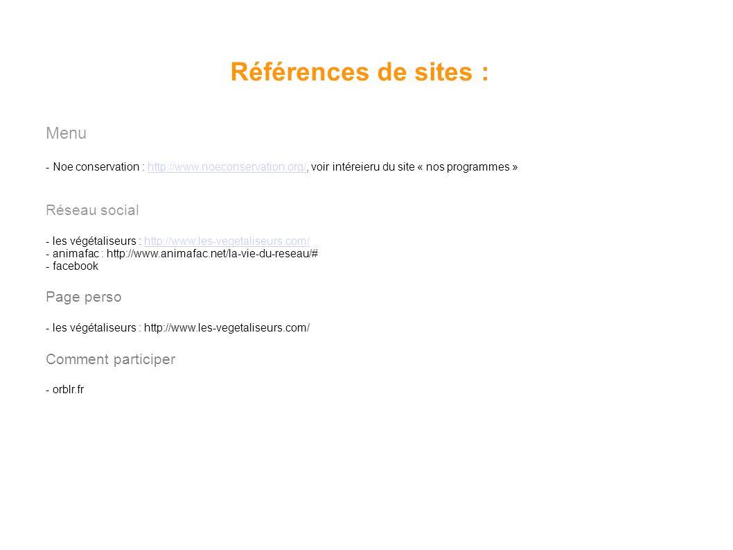Références de sites : Menu Réseau social Page perso Comment participer