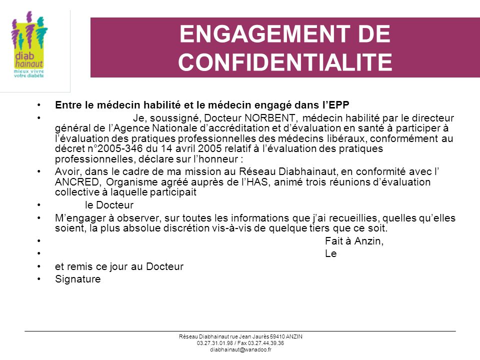 ENGAGEMENT DE CONFIDENTIALITE
