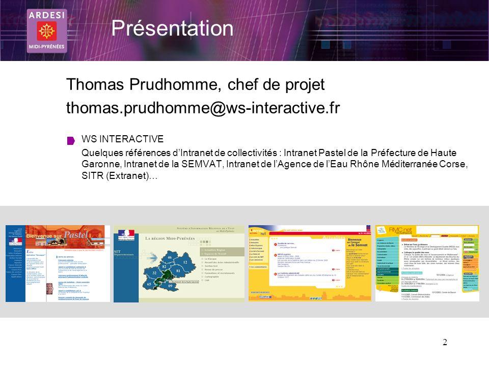 Présentation Thomas Prudhomme, chef de projet