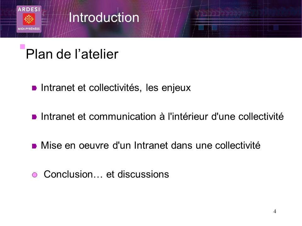 Introduction Plan de l'atelier Intranet et collectivités, les enjeux
