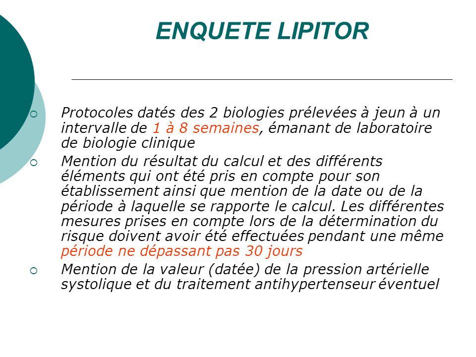 ENQUETE LIPITOR Protocoles datés des 2 biologies prélevées à jeun à un intervalle de 1 à 8 semaines, émanant de laboratoire de biologie clinique.