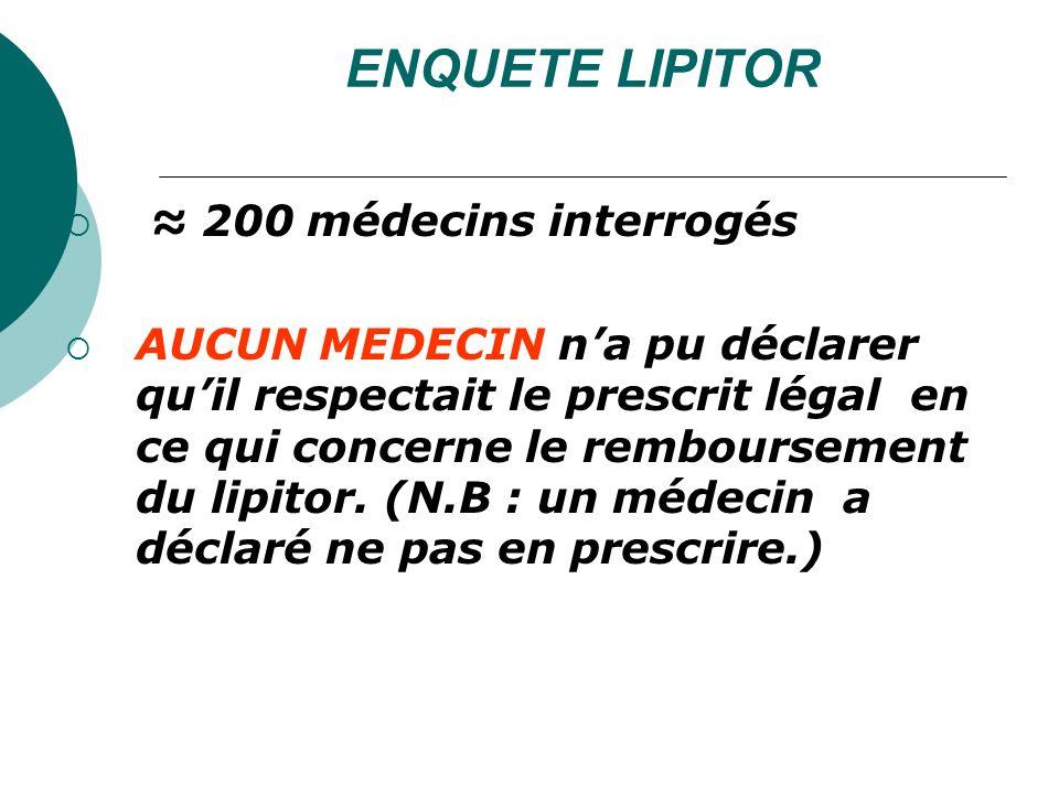 ENQUETE LIPITOR ≈ 200 médecins interrogés
