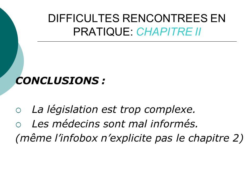 DIFFICULTES RENCONTREES EN PRATIQUE: CHAPITRE II