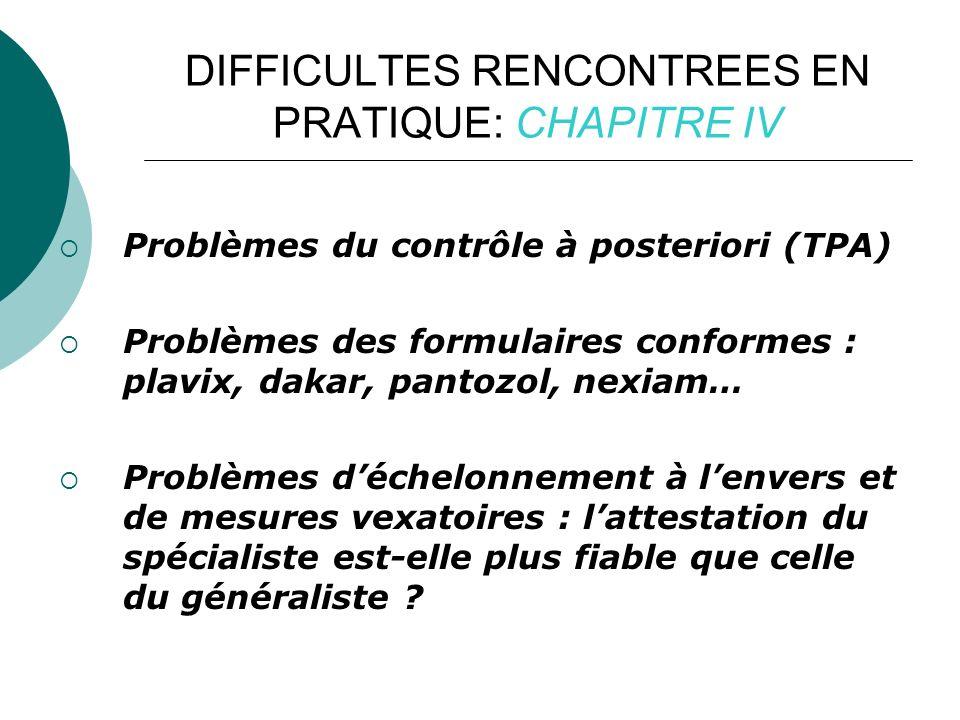 DIFFICULTES RENCONTREES EN PRATIQUE: CHAPITRE IV