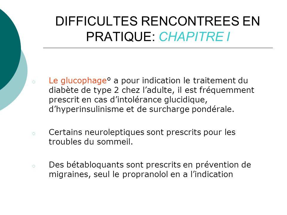 DIFFICULTES RENCONTREES EN PRATIQUE: CHAPITRE I