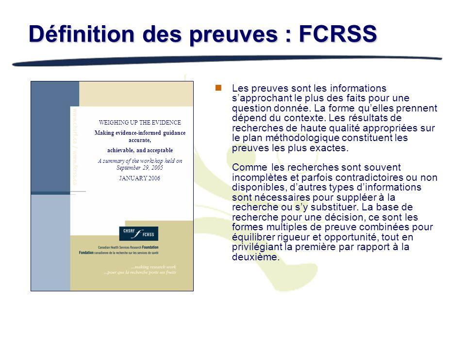 Définition des preuves : FCRSS