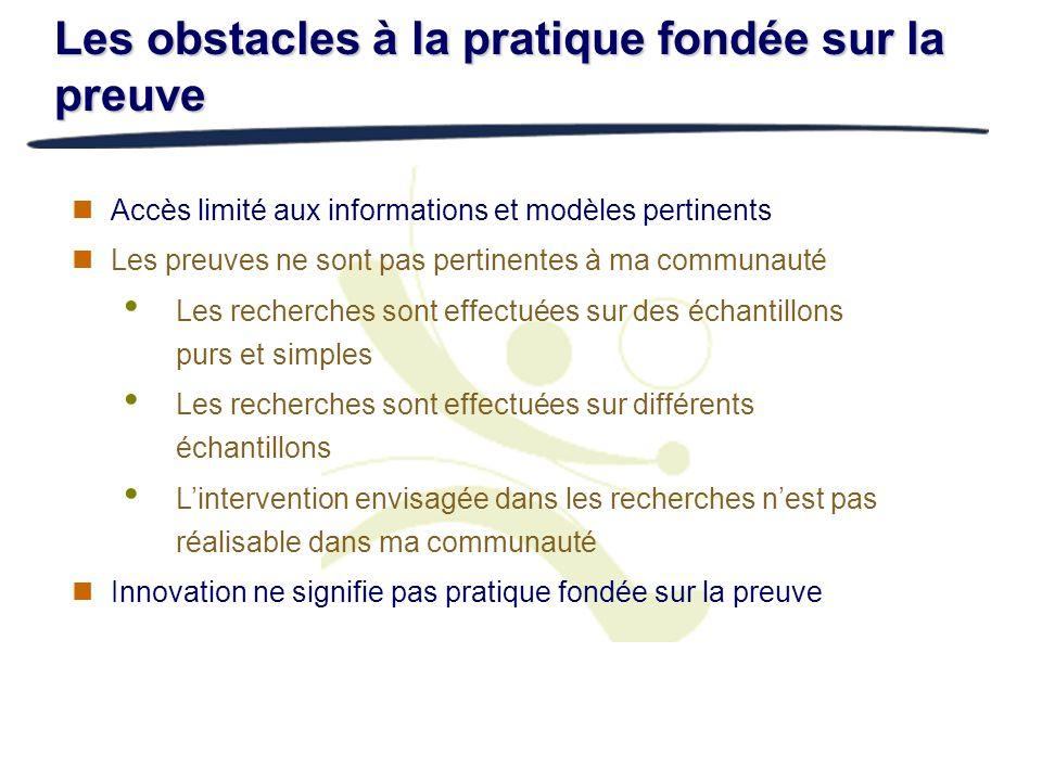 Les obstacles à la pratique fondée sur la preuve
