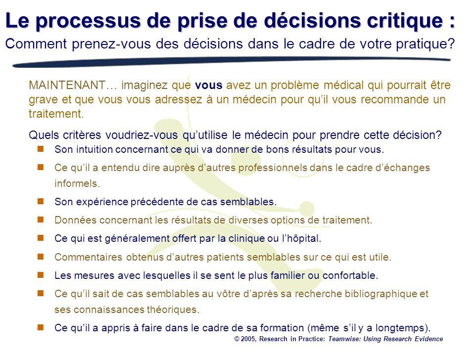 Le processus de prise de décisions critique :