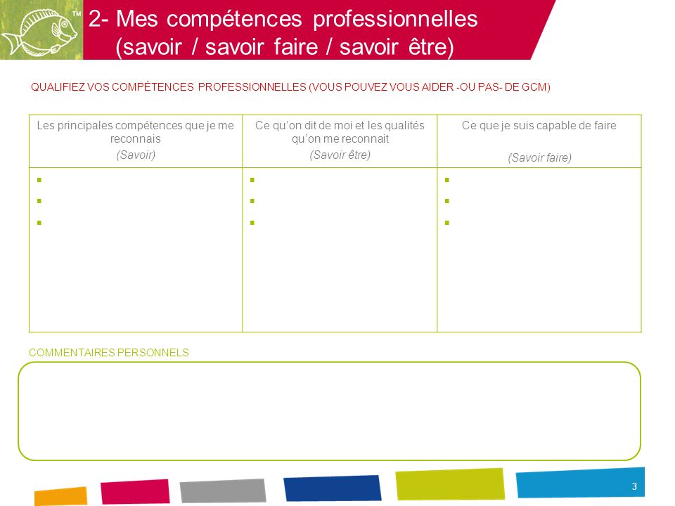 2- Mes compétences professionnelles (savoir / savoir faire / savoir être)