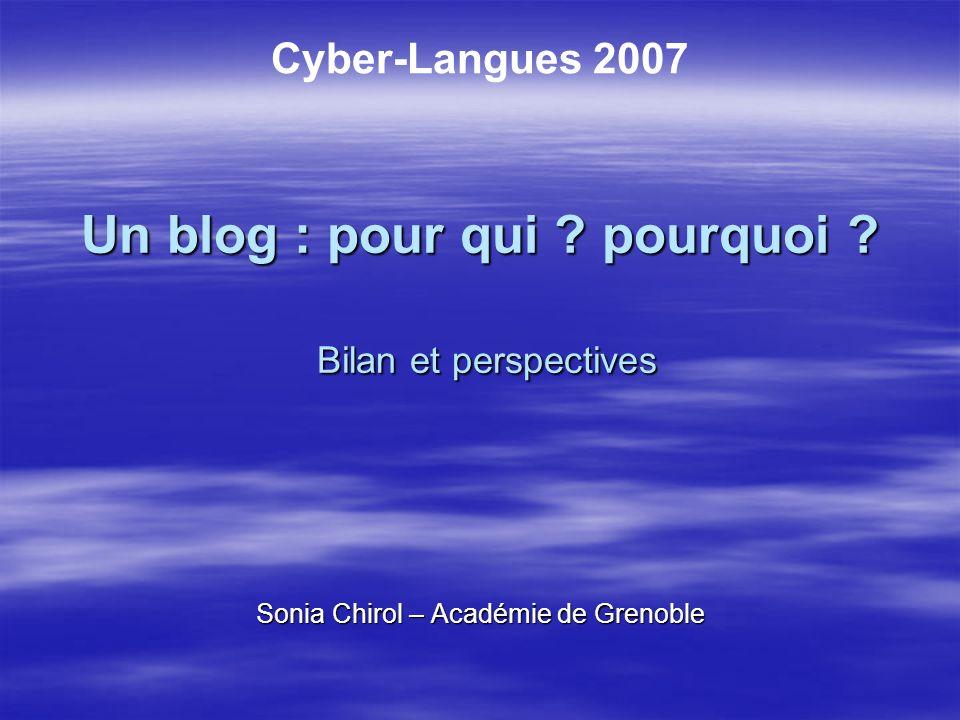 Un blog : pour qui pourquoi Bilan et perspectives