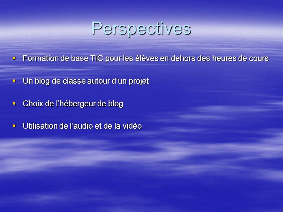 Perspectives Formation de base TIC pour les élèves en dehors des heures de cours. Un blog de classe autour d'un projet.