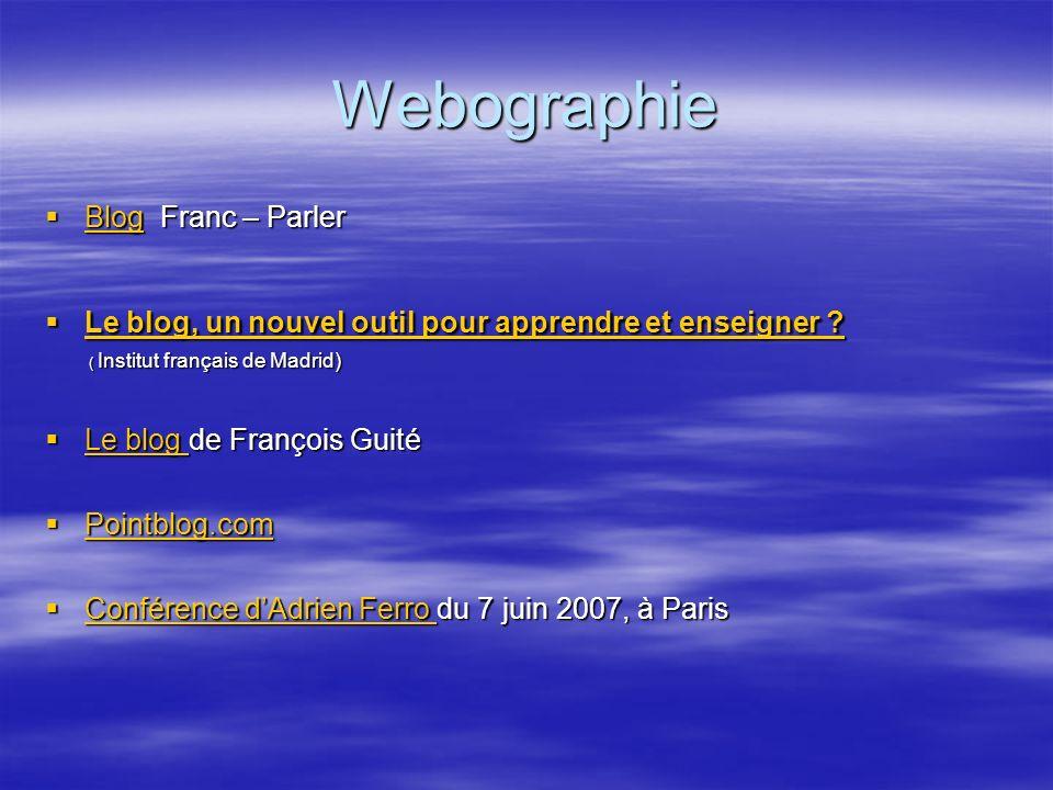 Webographie Blog Franc – Parler
