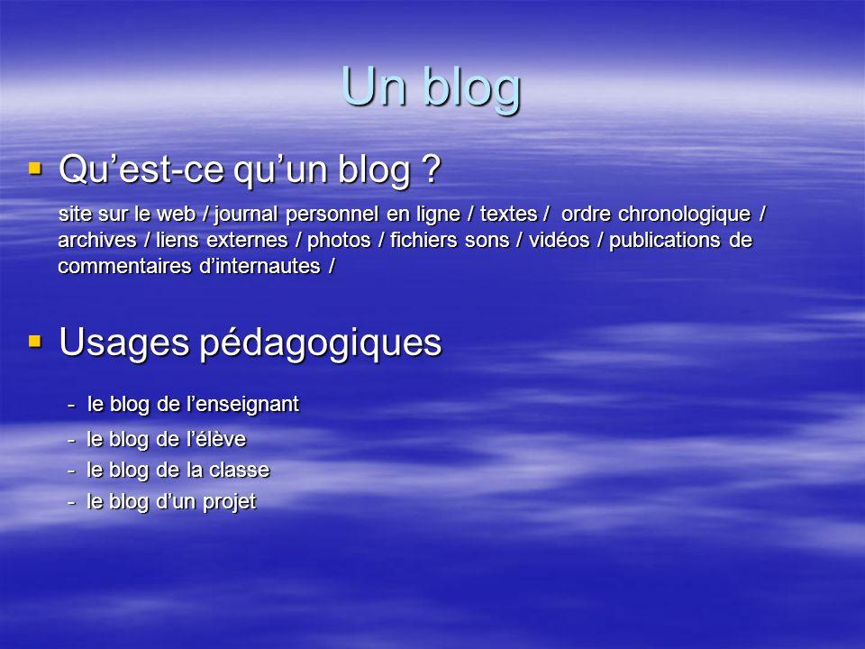 Un blog Qu'est-ce qu'un blog Usages pédagogiques