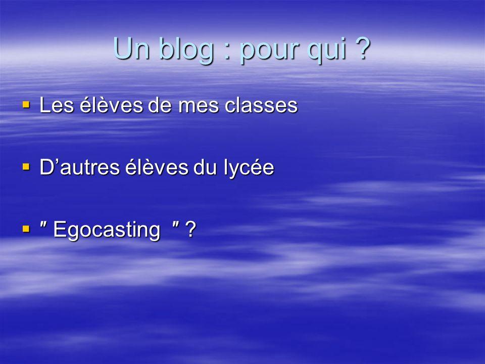 Un blog : pour qui Les élèves de mes classes