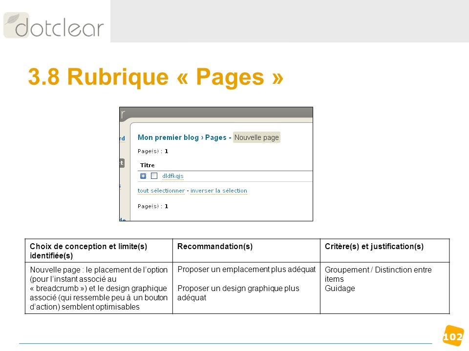 3.8 Rubrique « Pages » Choix de conception et limite(s) identifiée(s)