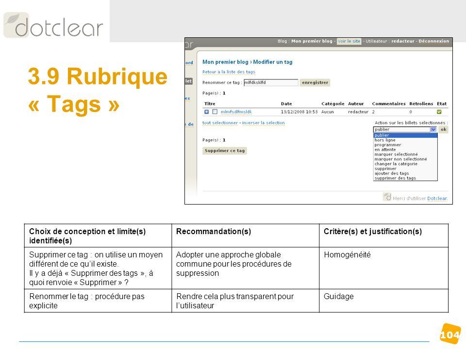 3.9 Rubrique « Tags » Choix de conception et limite(s) identifiée(s)
