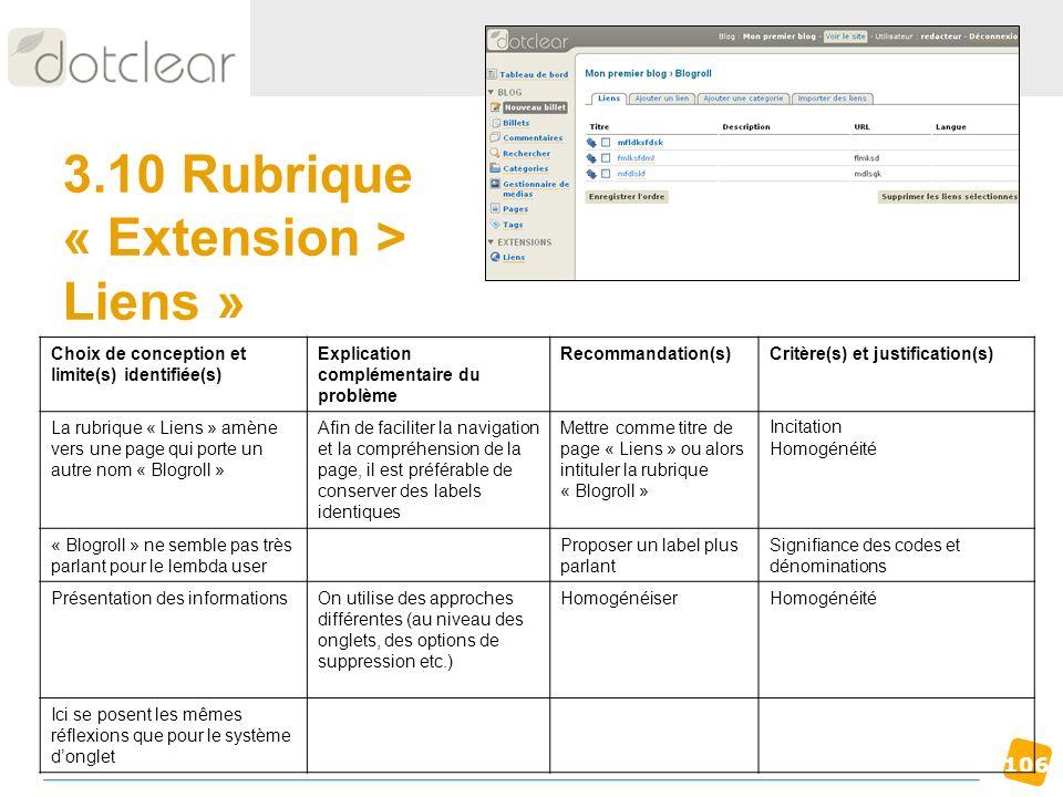 3.10 Rubrique « Extension > Liens »