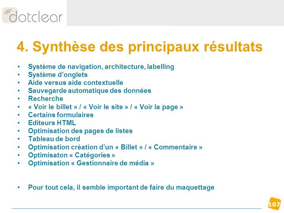 4. Synthèse des principaux résultats