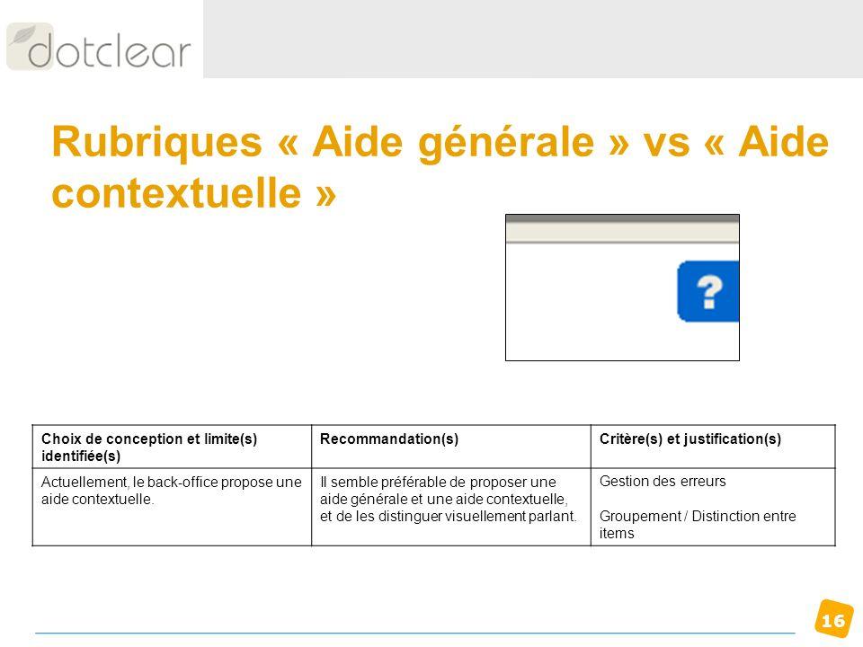 Rubriques « Aide générale » vs « Aide contextuelle »