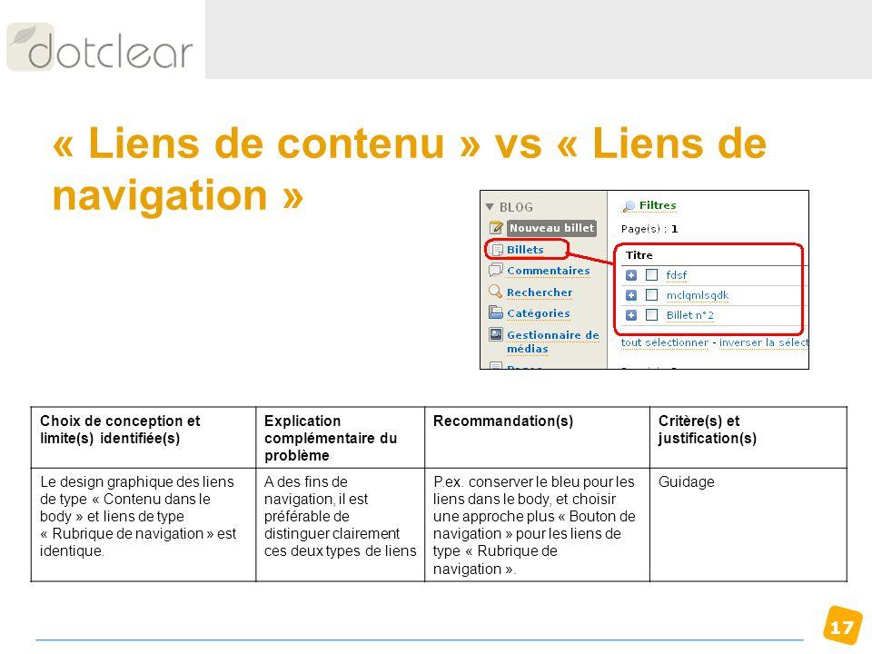 « Liens de contenu » vs « Liens de navigation »