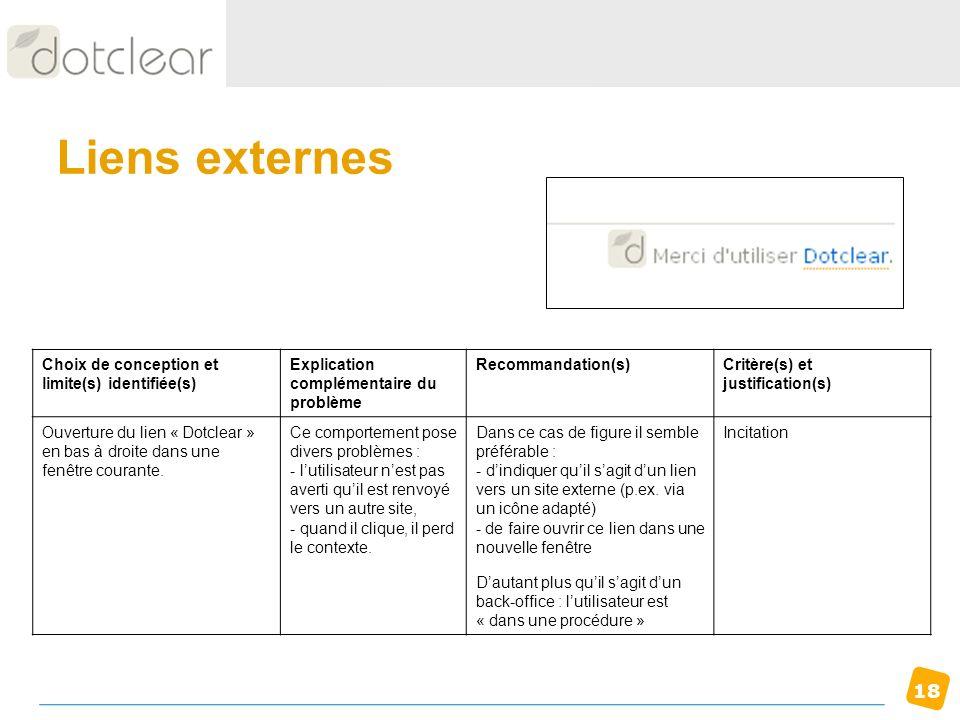 Liens externes Choix de conception et limite(s) identifiée(s)