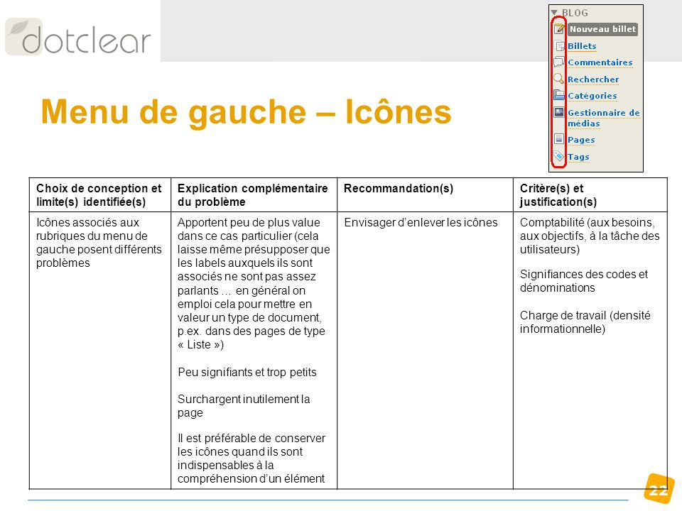 Menu de gauche – Icônes Choix de conception et limite(s) identifiée(s)