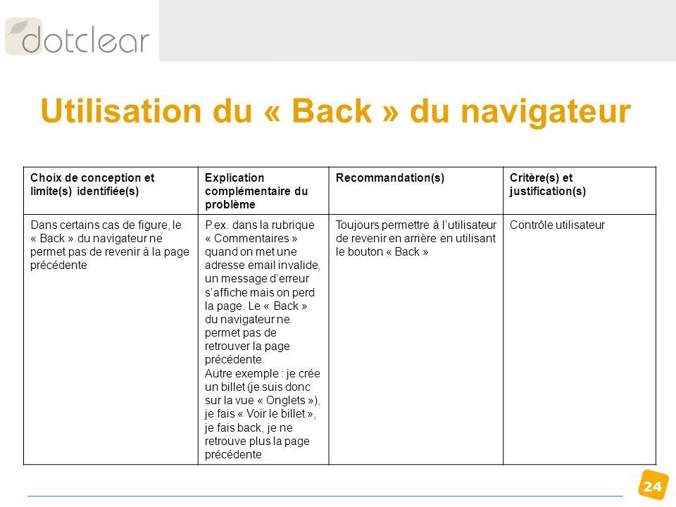 Utilisation du « Back » du navigateur
