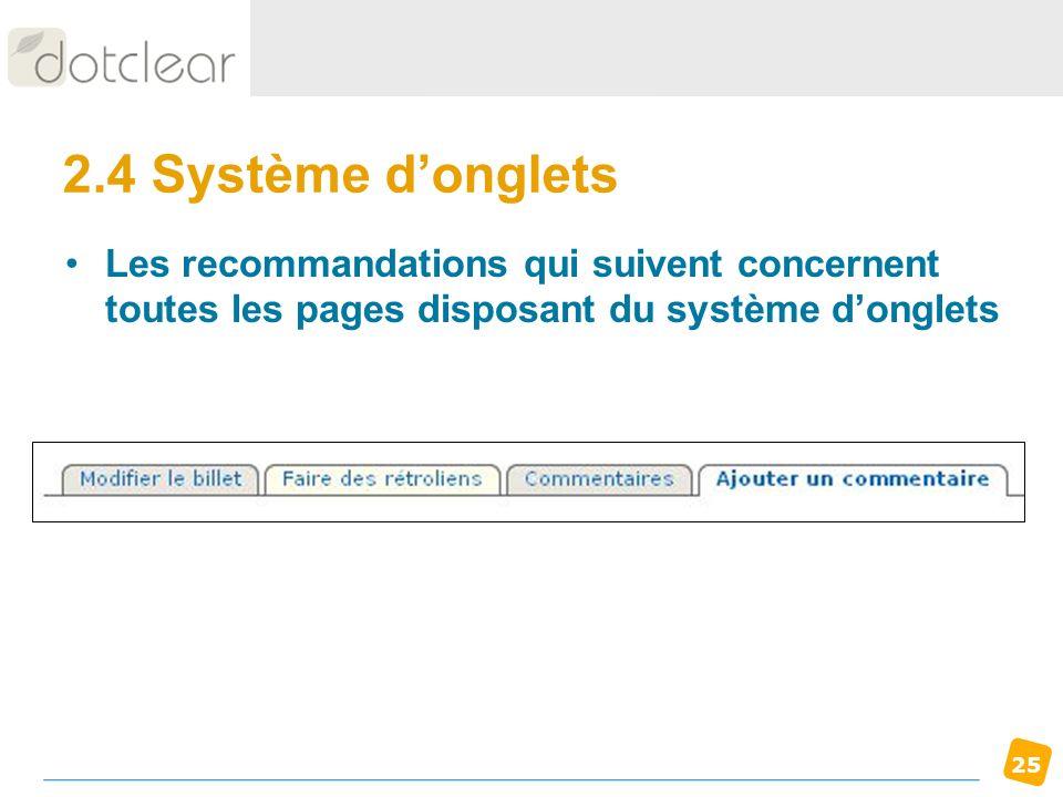 2.4 Système d'ongletsLes recommandations qui suivent concernent toutes les pages disposant du système d'onglets.