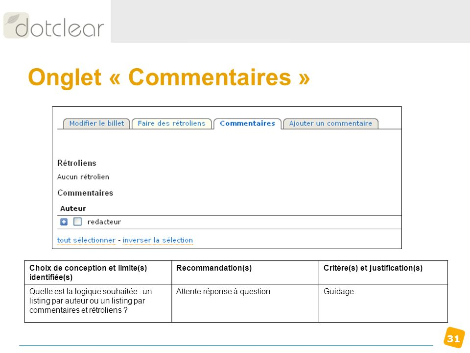 Onglet « Commentaires »