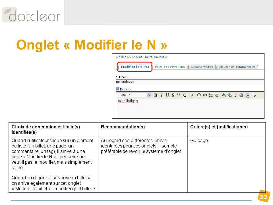 Onglet « Modifier le N » Choix de conception et limite(s) identifiée(s) Recommandation(s) Critère(s) et justification(s)