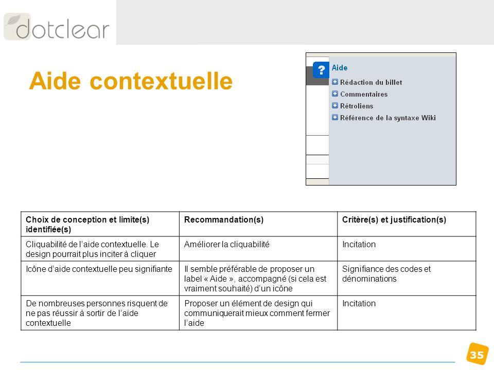 Aide contextuelle Choix de conception et limite(s) identifiée(s)