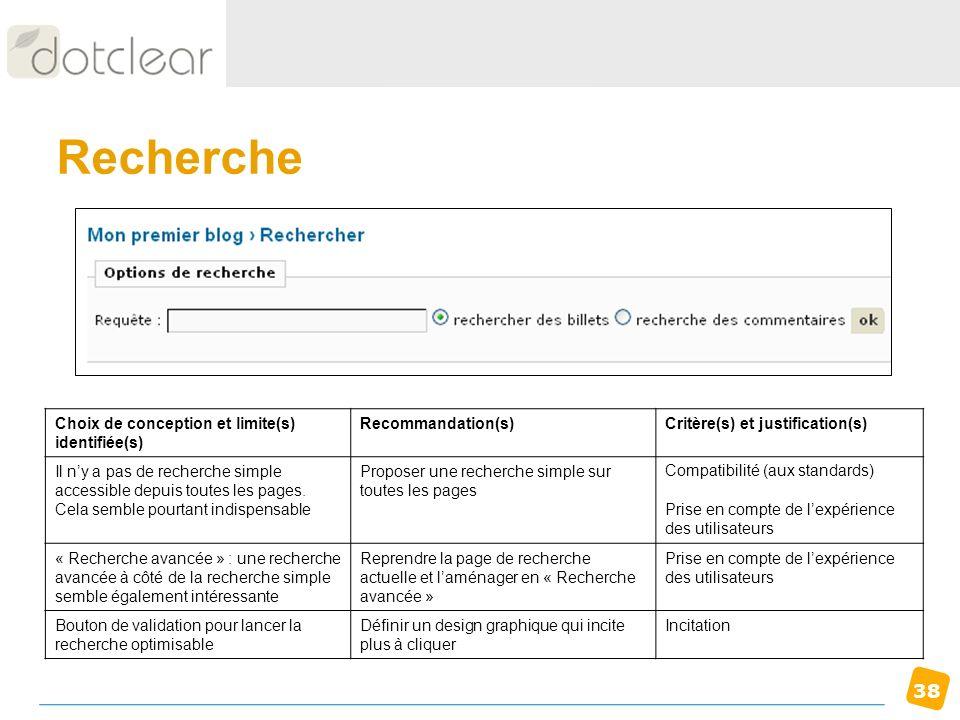 Recherche Choix de conception et limite(s) identifiée(s)