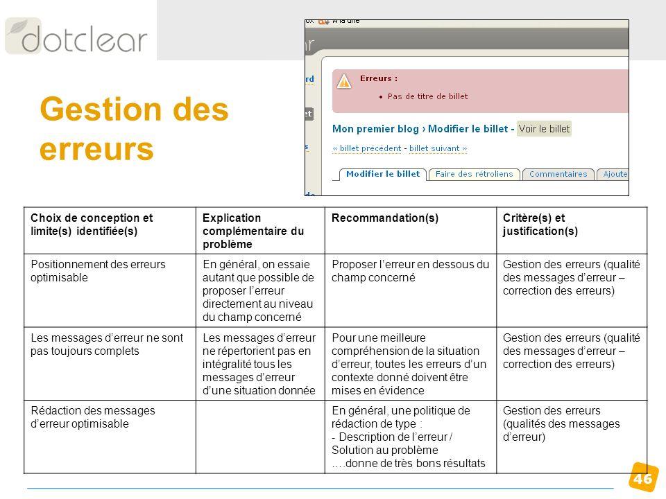 Gestion des erreurs Choix de conception et limite(s) identifiée(s)