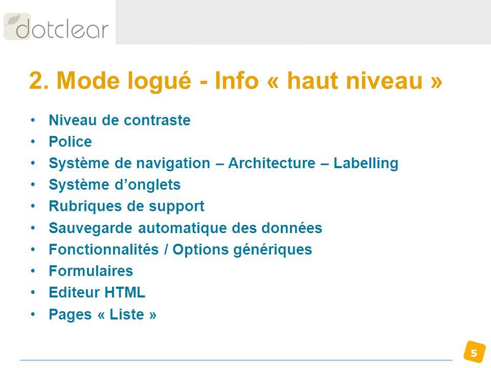 2. Mode logué - Info « haut niveau »