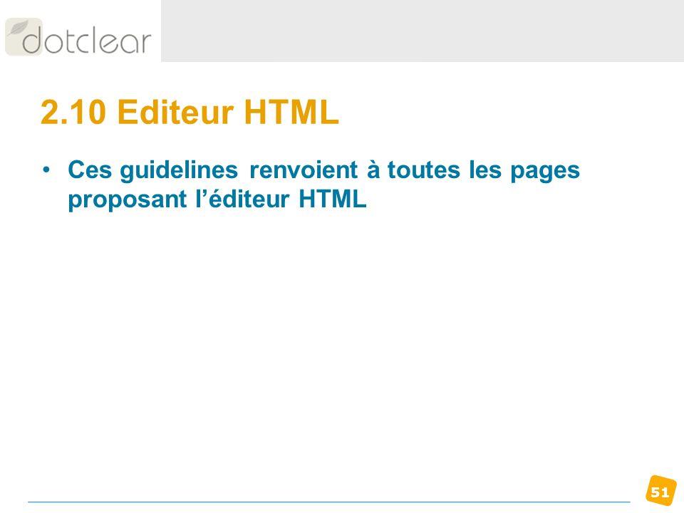 2.10 Editeur HTML Ces guidelines renvoient à toutes les pages proposant l'éditeur HTML