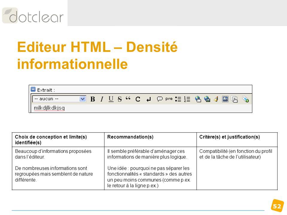 Editeur HTML – Densité informationnelle