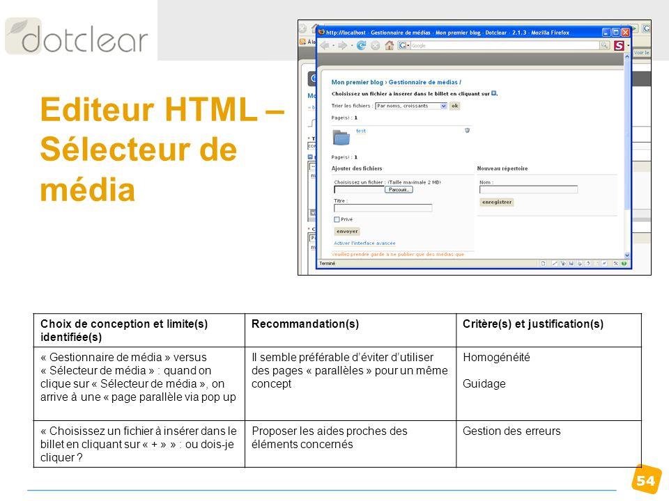Editeur HTML – Sélecteur de média