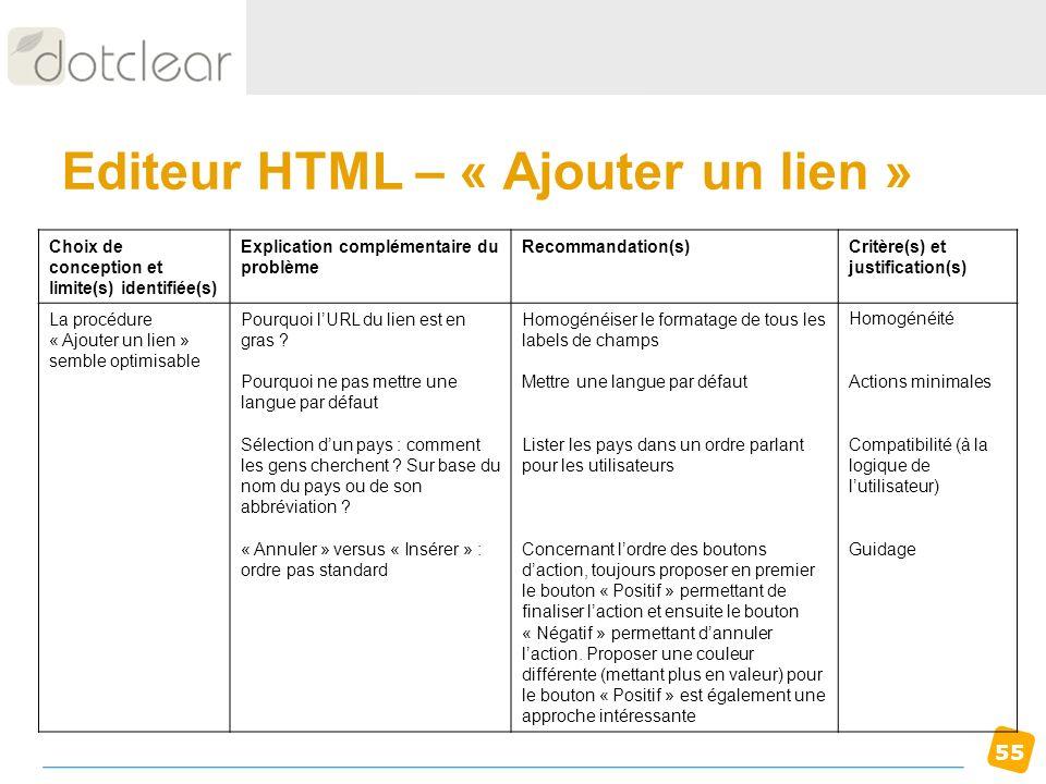 Editeur HTML – « Ajouter un lien »