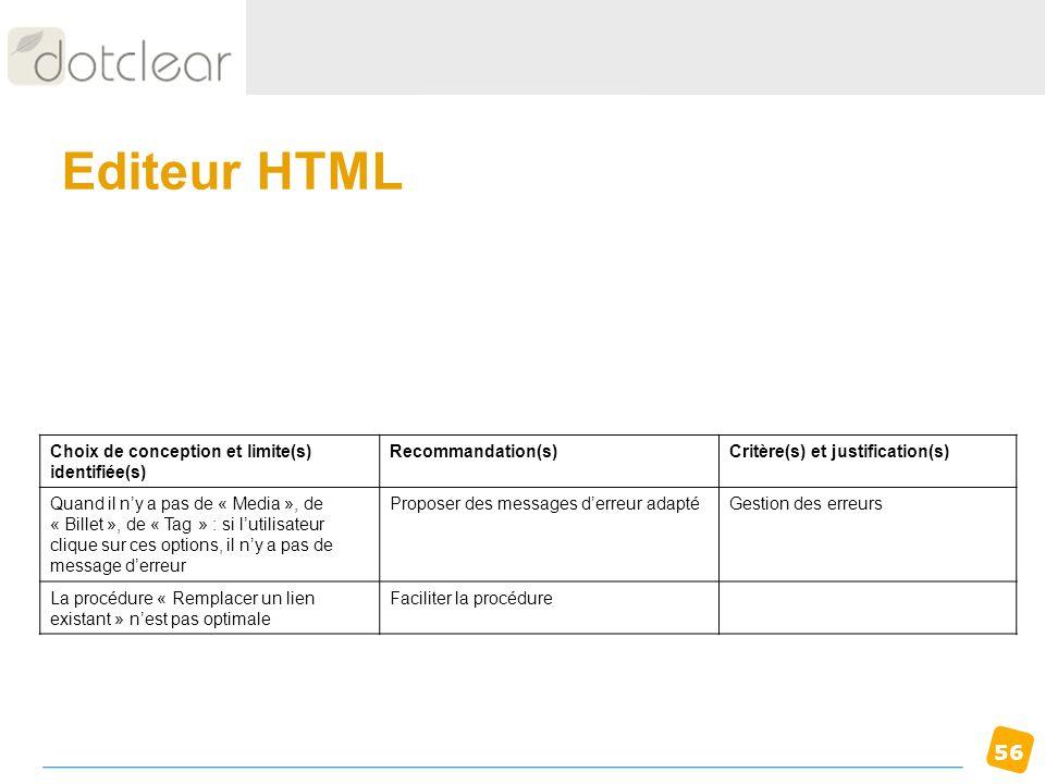 Editeur HTML Choix de conception et limite(s) identifiée(s)