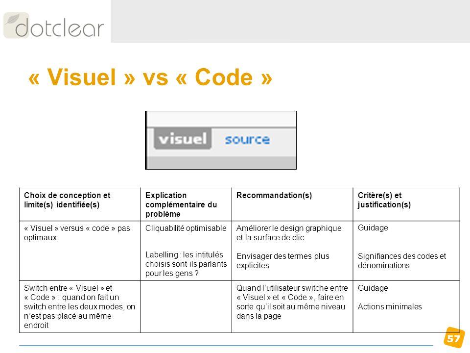 « Visuel » vs « Code » Choix de conception et limite(s) identifiée(s)